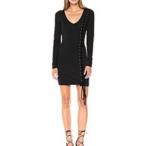 GUESS Black BodyCon Lace-Up Dress